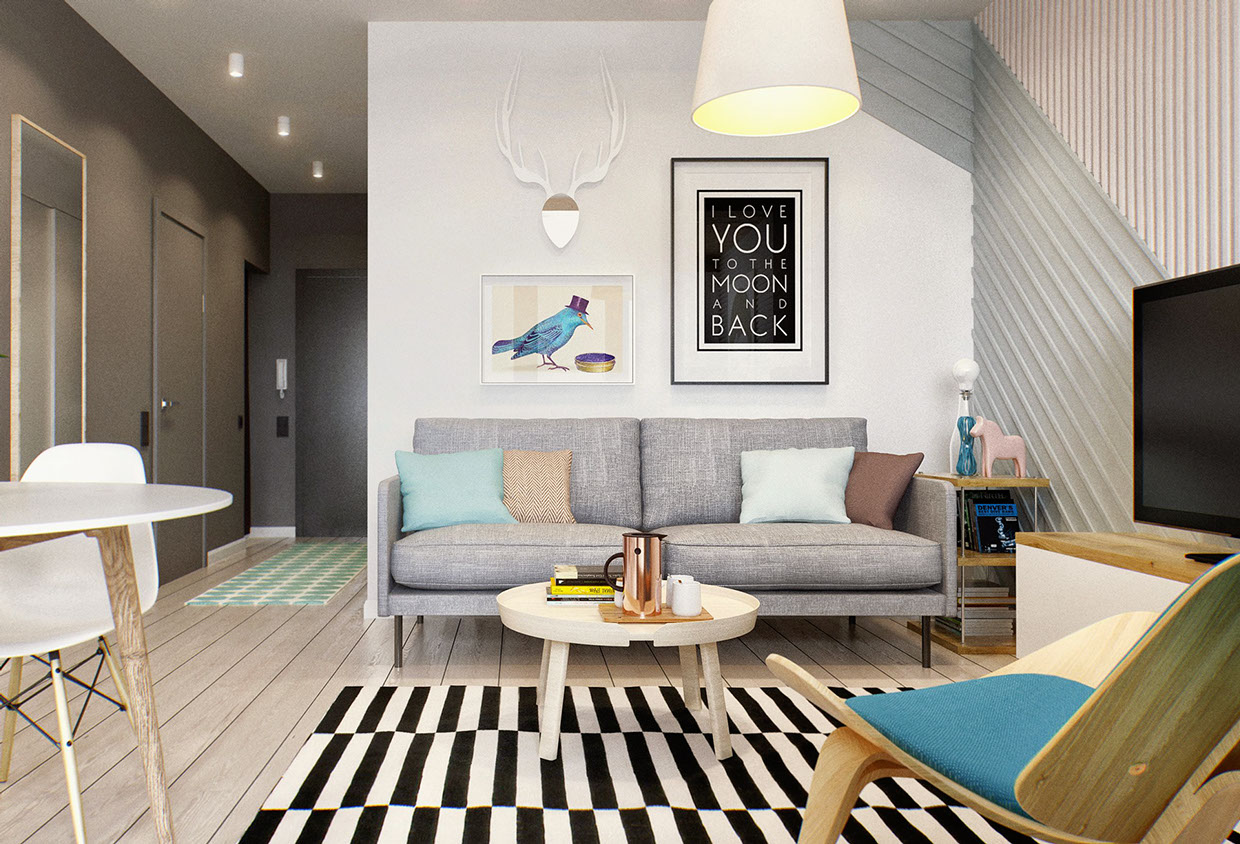 2 simple super beautiful studio apartment concepts for a Beautiful apartment interiors
