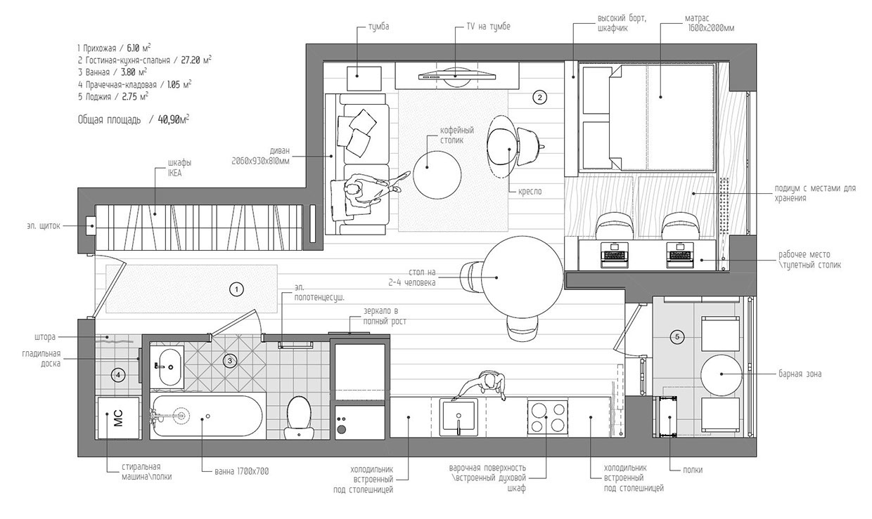 ... Studio Apartment Concepts For A Young Couple [Includes Floor Plans