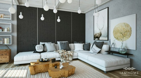 A gold tinted coffee table gives the perfect sparkly setting for serving drinks or hors d'oeuvres while overhead lights that dangle on individual cords are another playful addition.