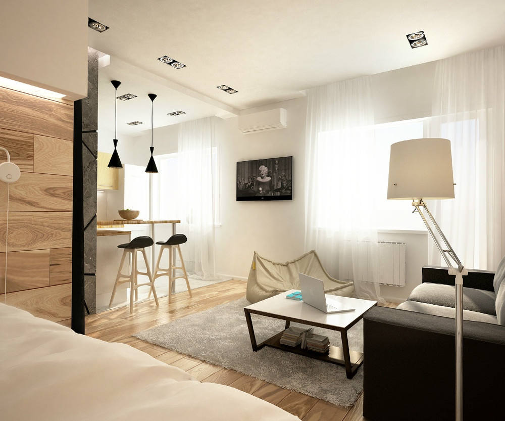 2 simple super beautiful studio apartment concepts for a young couple includes floor plans - Studio apartment ...