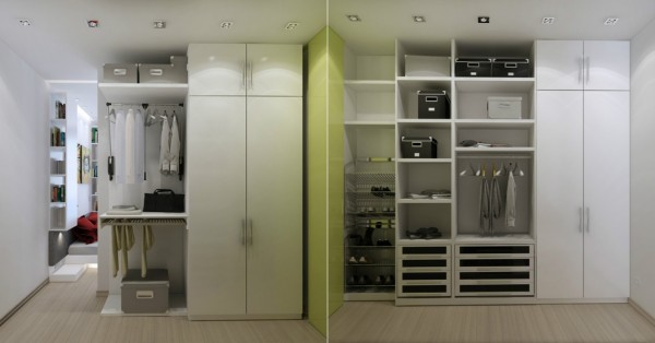 A walk in closet may seem like a luxury in a space this small, but when there is room to organize everything, everything can actually stay organized.