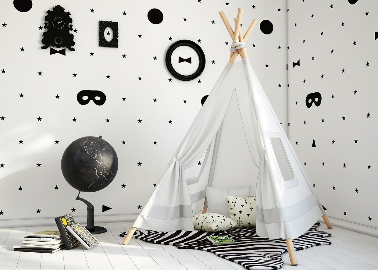 Teepee for kids interior design ideas - Papier peint tendance chambre ...
