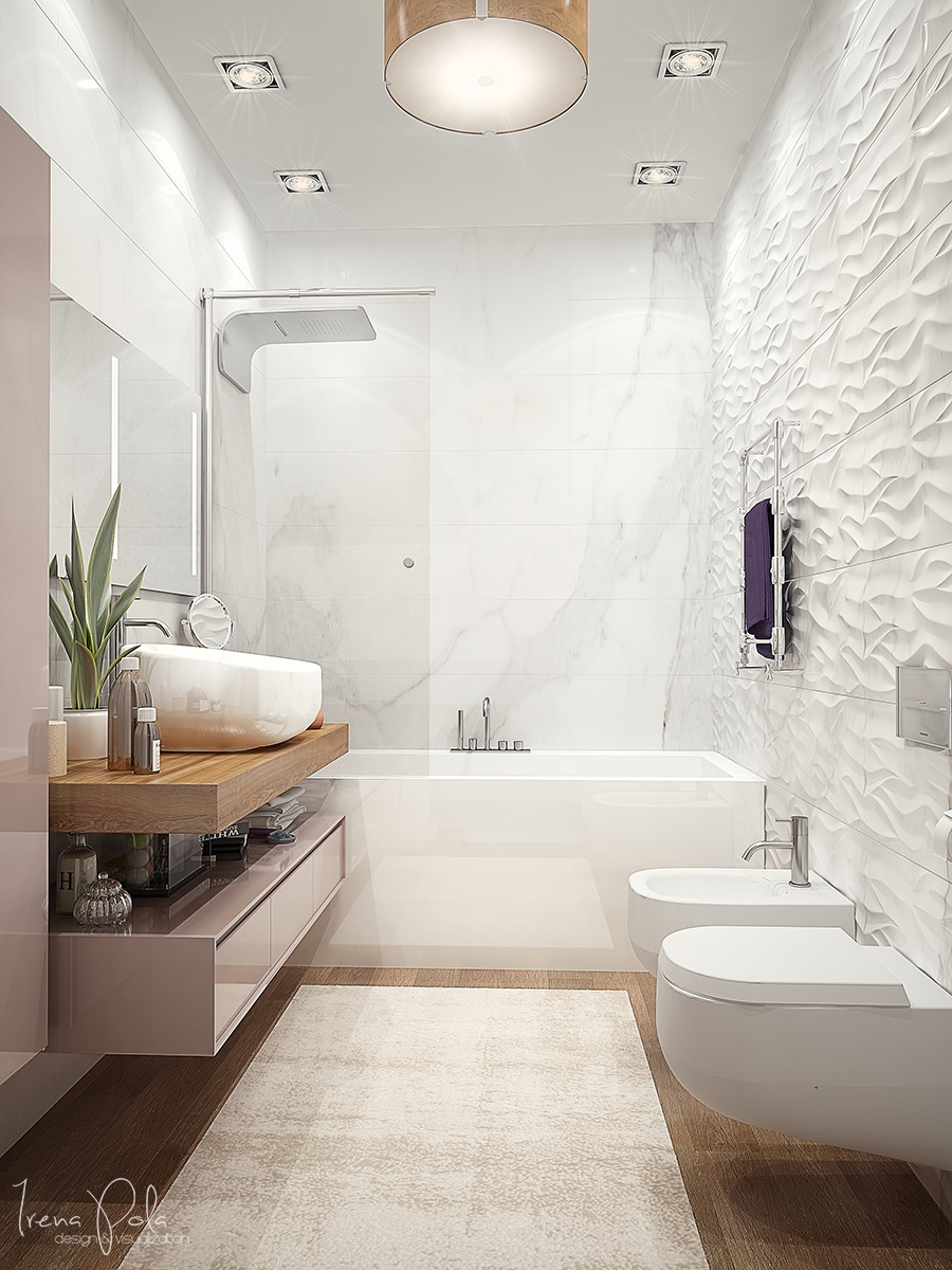 Textured Bathroom Wall - Super luxurious apartment in kiev ukraine