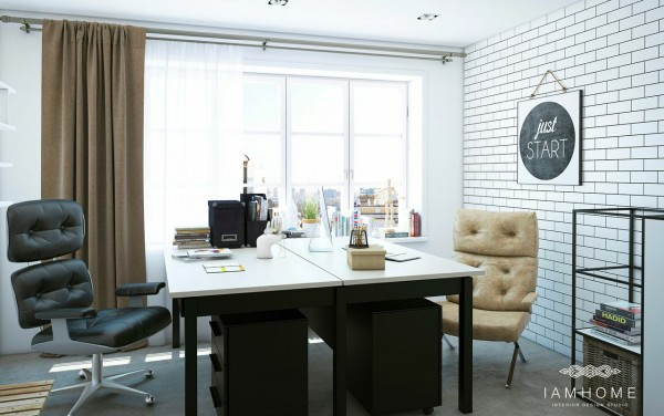 For a couple that works from home, a separate work area with everything you need to get down to business is essential.