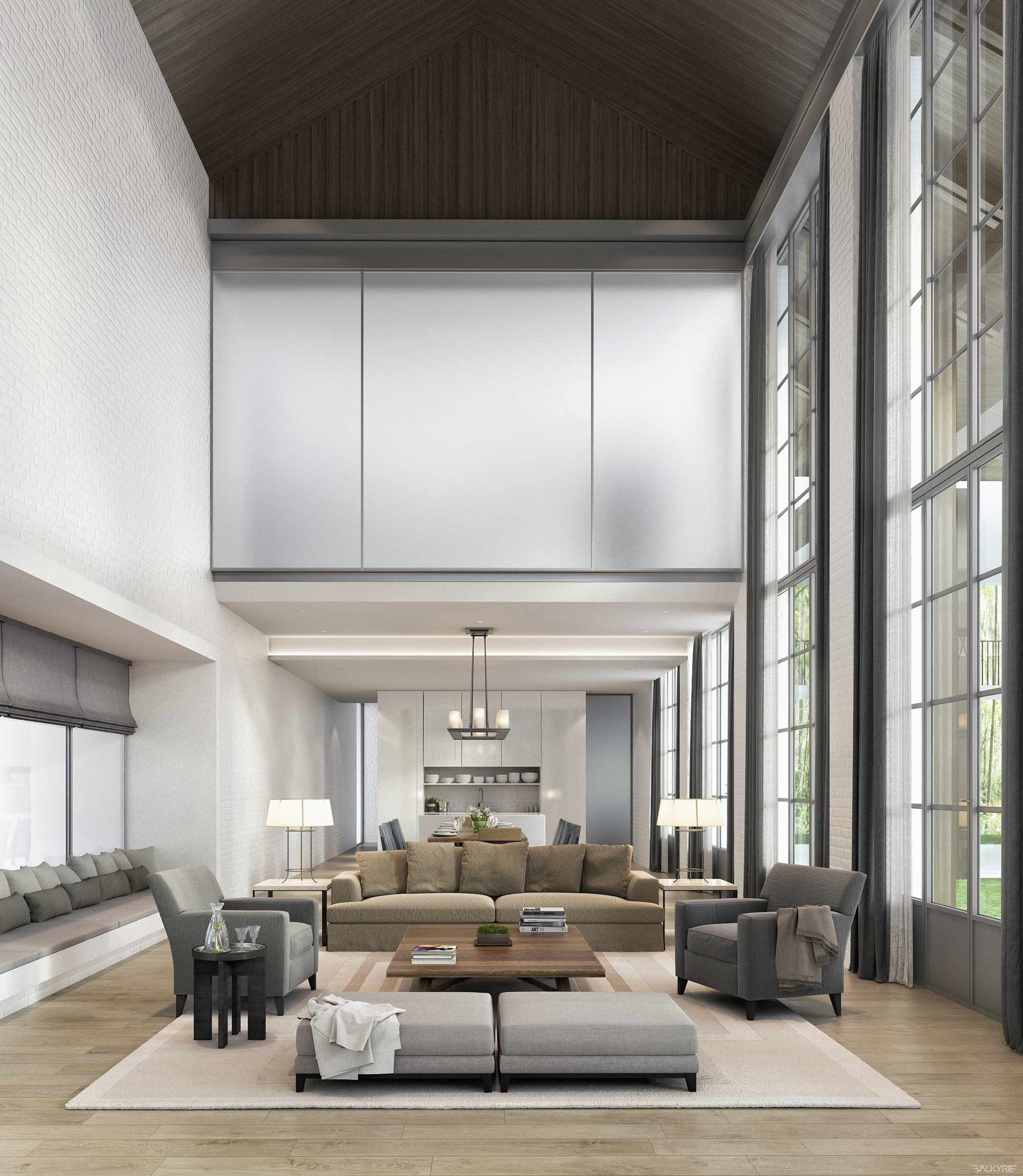 Any furniture would feel dwarfed by these massive windows, so keeping ...