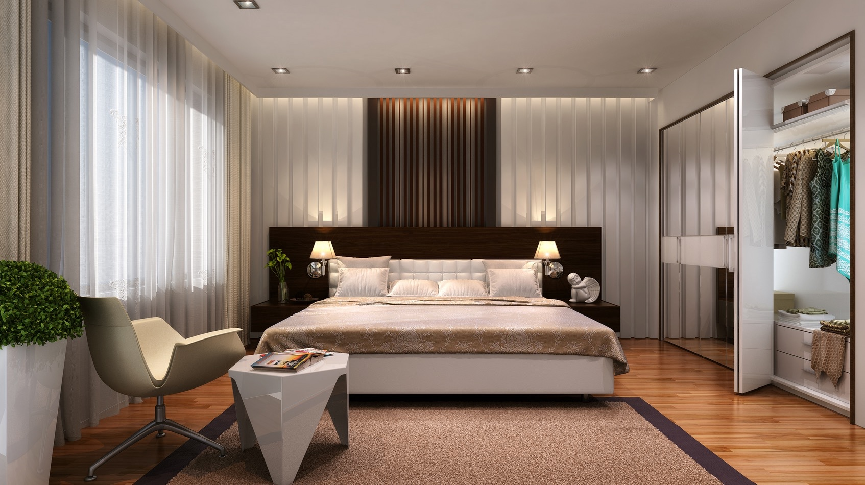 vertical stripes reflected around this bedroom make it feel taller and