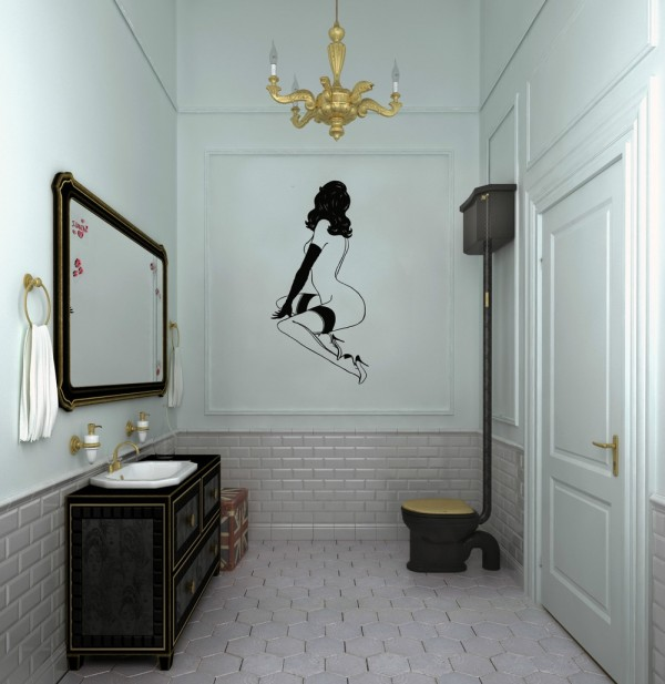 Even the bathroom has its own cheeky decor, from this saucy pinup model decal to the decadently dark claw foot tub.