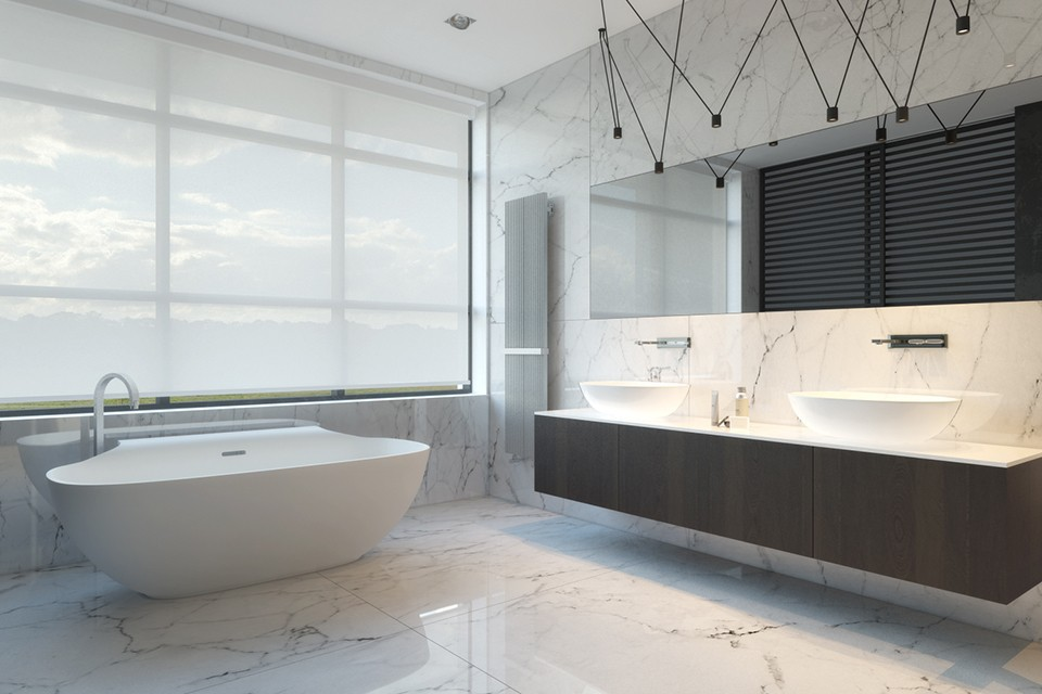 White Marble Bath - Kiev apartment showcases sleek design with surprising playful elements