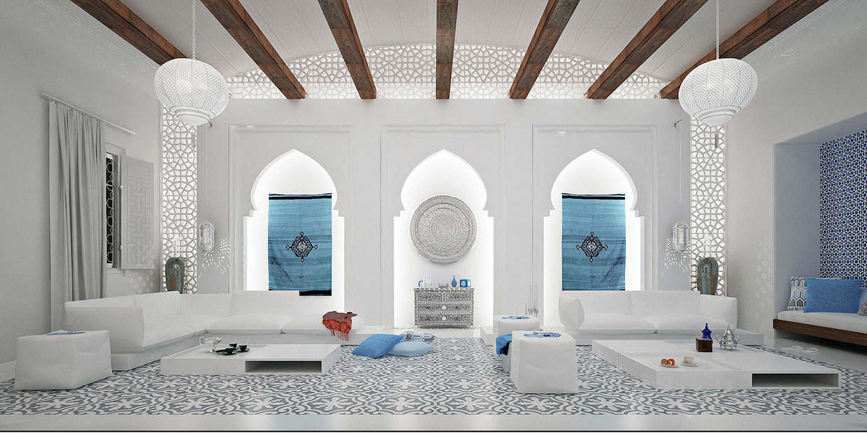 White moroccan style interior design ideas for Moroccan house design