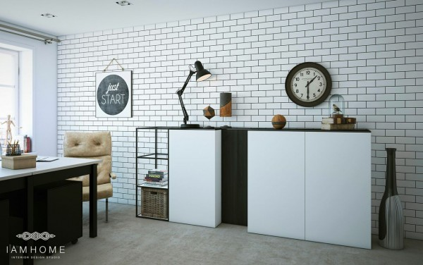 White tile works with the streaming sunlight to create a space where it's easy to create throughout the entire year.