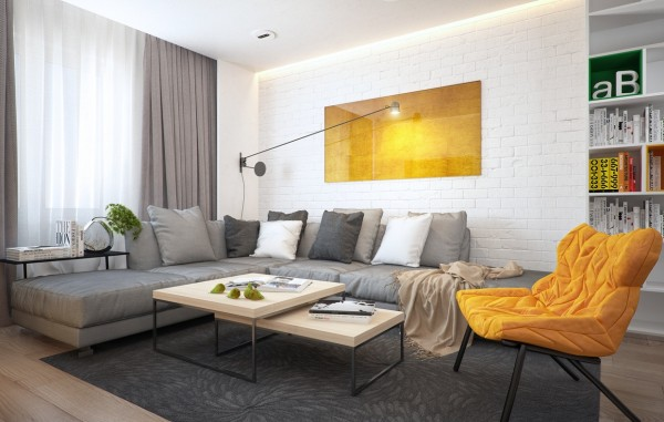 The final apartment brings a bit more color into the equation. And that color is a bold and stylish mustard yellow.