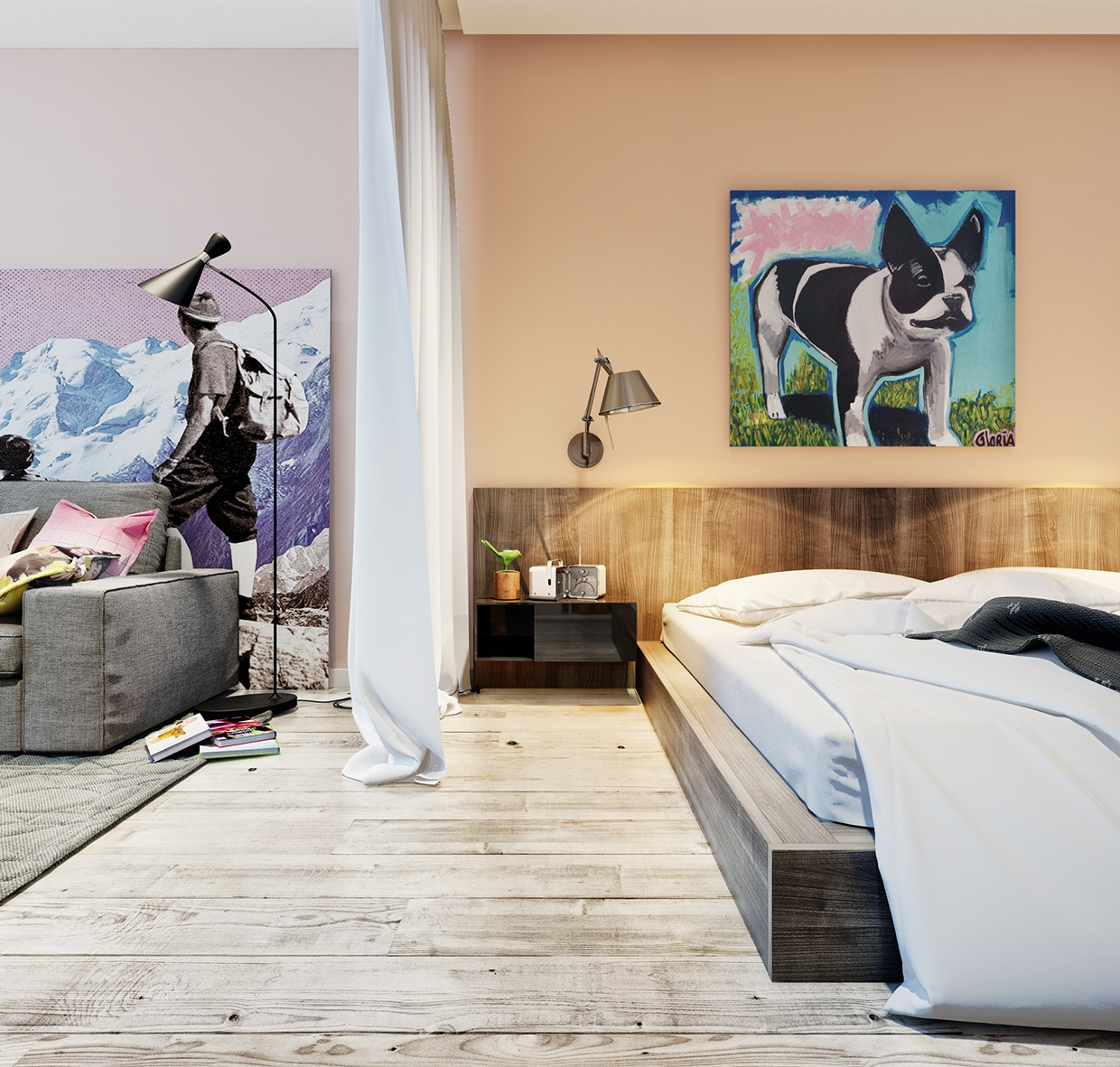 Adorable Pop Art - Living and sleeping areas exist in harmony in these comfortable studio spaces