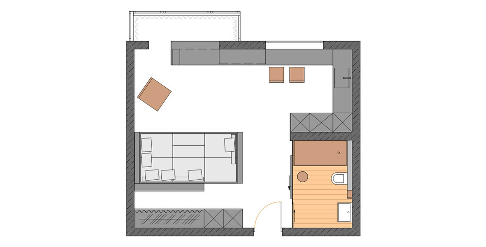 Apartment Floorplan - Living and sleeping areas exist in harmony in these comfortable studio spaces