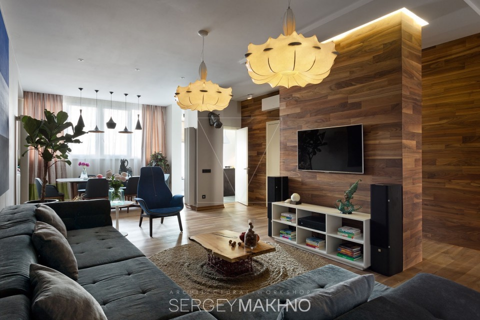 Awesome Wood Paneling - 3 whimsical apartment interiors from sergey makhno
