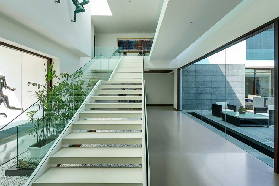 Beautiful Staircase - Contemporary new delhi villa with amazing courtyard and water features