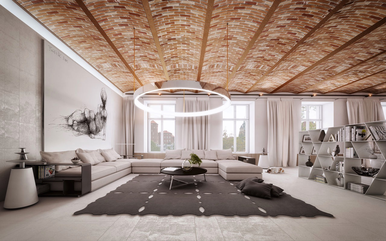 Brick ceiling design interior design ideas for Interior design for living room roof