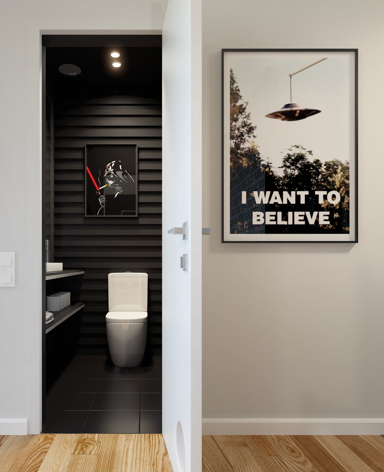 Clever star wars print interior design ideas - Decoration couloir gris et blanc ...