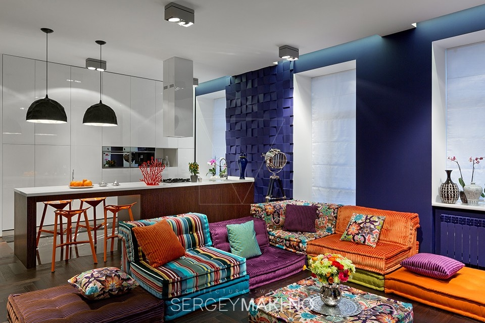 Colorful Living Room Ideas - 3 whimsical apartment interiors from sergey makhno