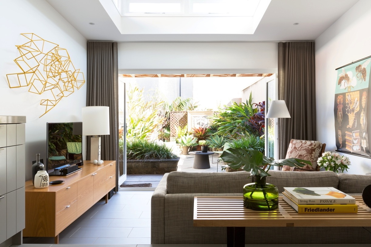 This Interior View With A Nearly Panoramic Look Into The Garden Is