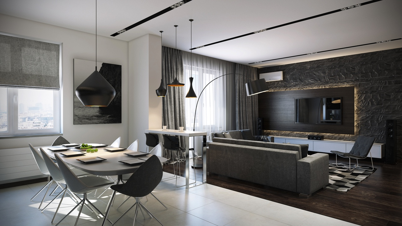 Open apartments that make creative use of texture and pattern A sleek apartment the divides rooms creatively