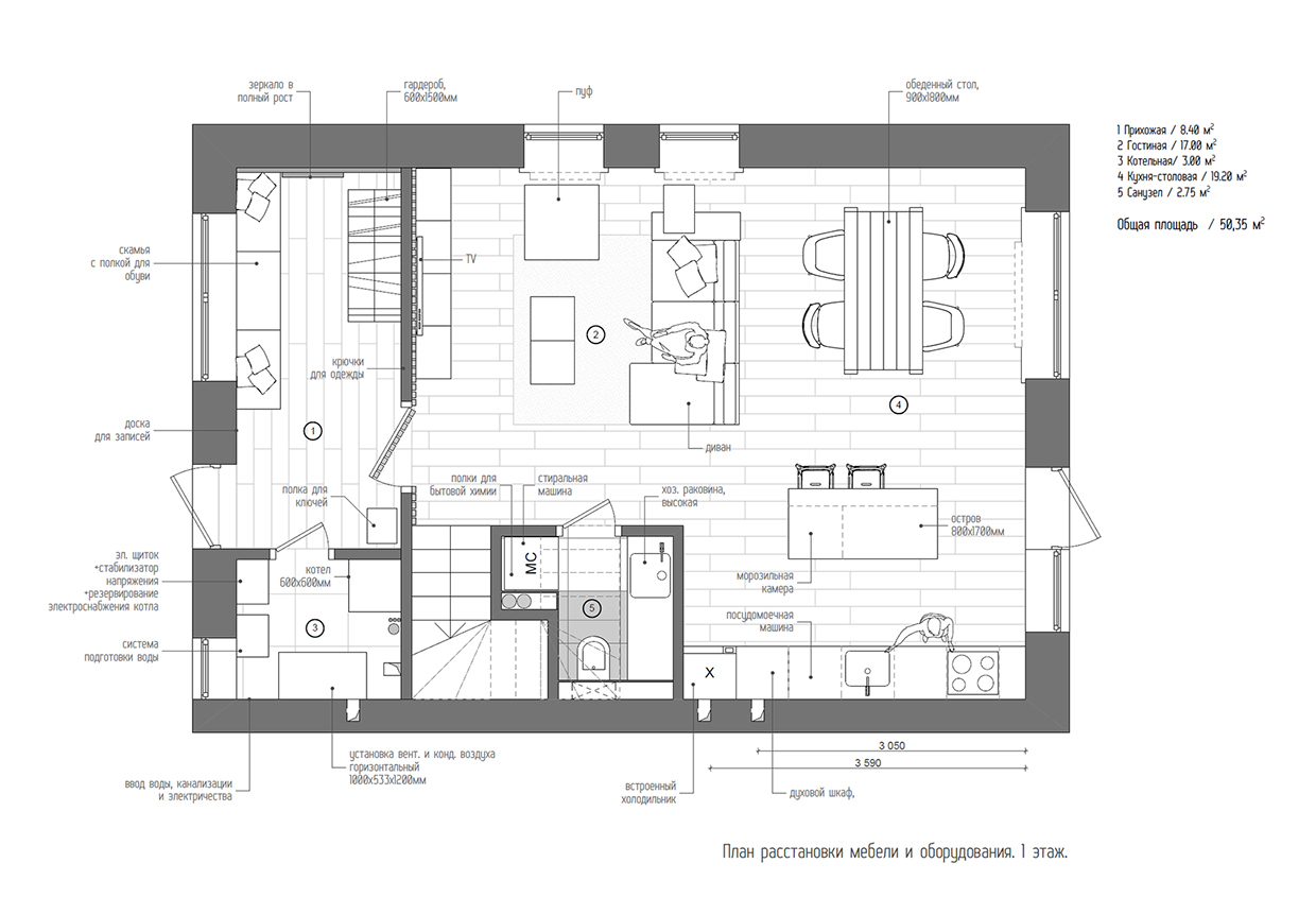 Duplex penthouse with scandinavian aesthetics industrial for Duplex layout plan