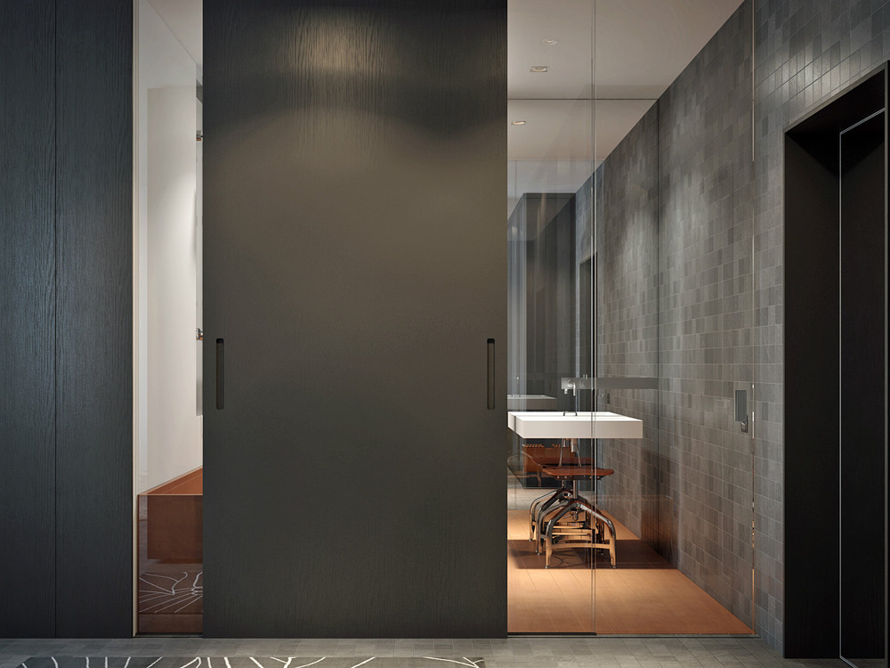 Gray Tile Bath - Living and sleeping areas exist in harmony in these comfortable studio spaces