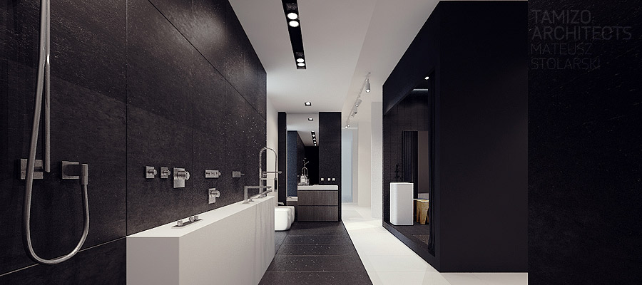 Tamizo the masters of black white design for Pictures of big bathrooms
