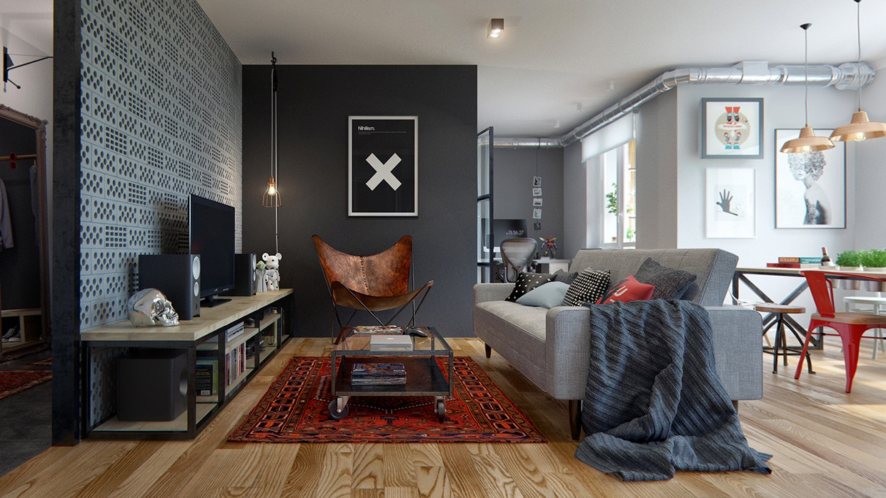 Eclectic single bedroom apartment with open floor plan - Decoracion industrial vintage ...