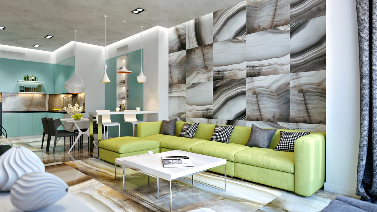 . lime green sofa   Interior Design Ideas