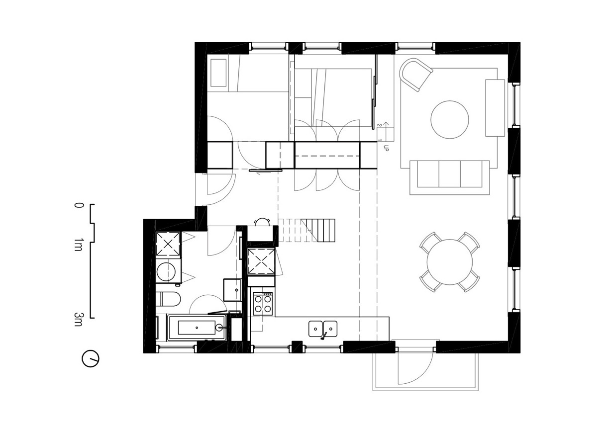 Two apartments in modern minimalist japanese style for Modern minimalist house plans