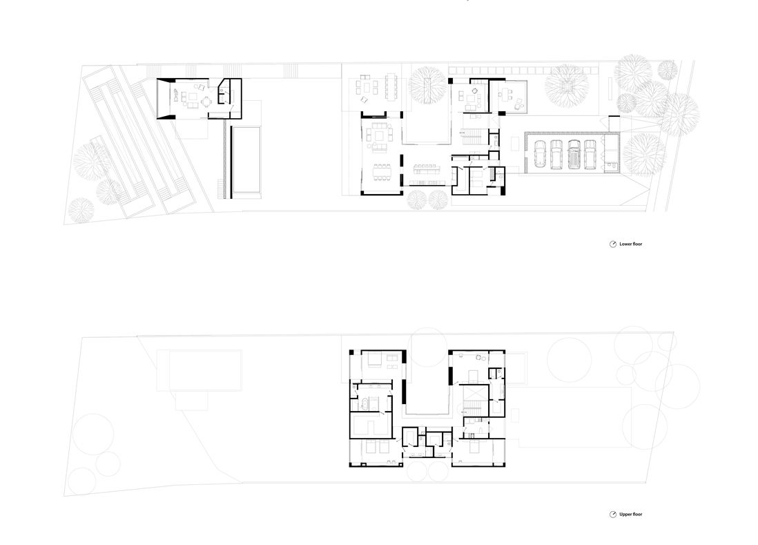 Modern Home Floorplan - Steel concrete and stone home with central courtyard