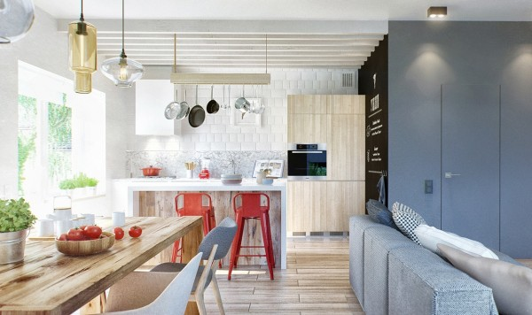 A Duplex Penthouse Designed With Scandinavian Aesthetics Industrial Elements Includes Floor Plans