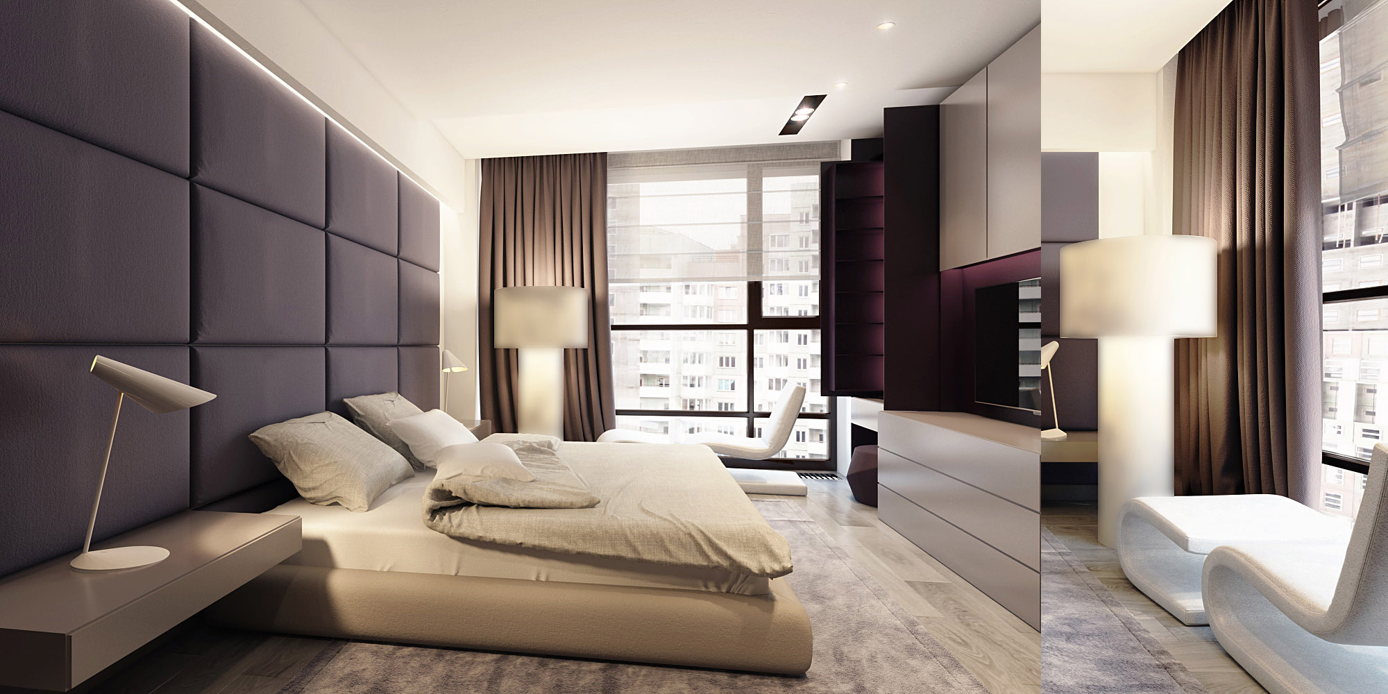 Sophisticated family apartment with rich wood accents - Bedrooms designs ...