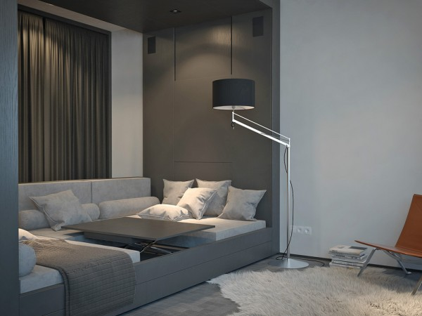 Living and sleeping areas exist in harmony in these comfortable studio spaces - Comfortable beds for small spaces minimalist ...