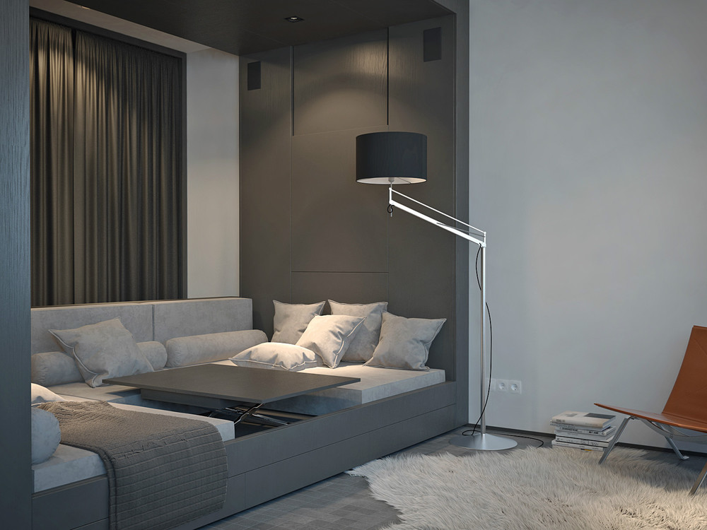 Simple Floor Lamp - Living and sleeping areas exist in harmony in these comfortable studio spaces