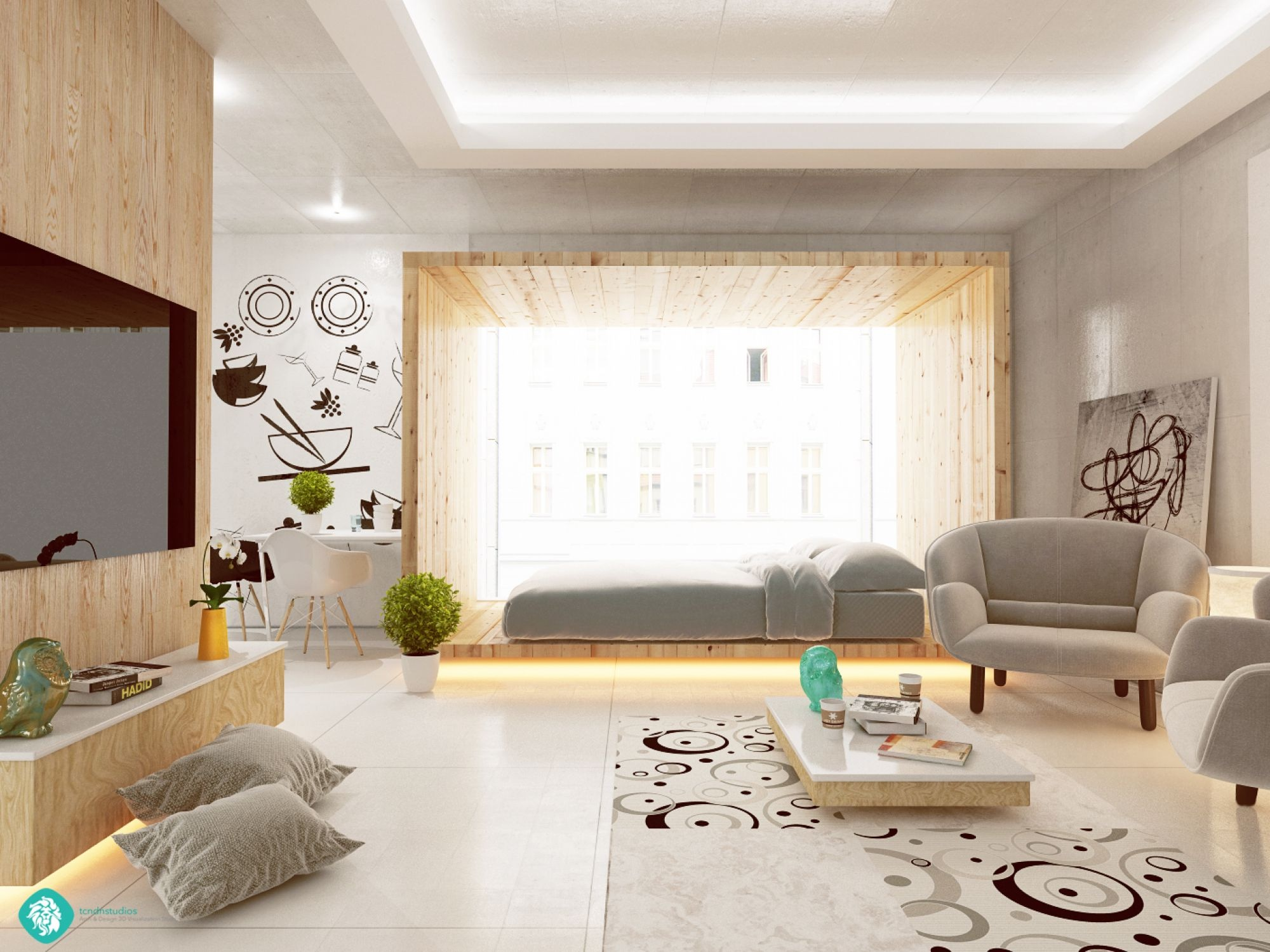 Studio Apartment Separate Sleeping Area living and sleeping areas exist in harmony in these comfortable
