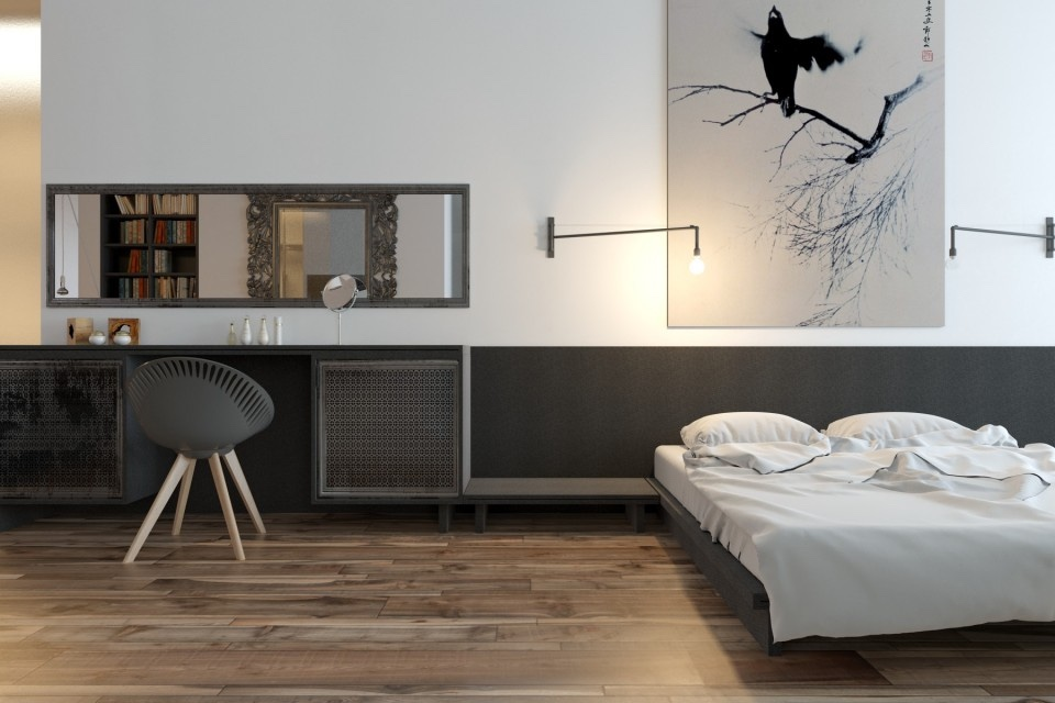 White And Gray Bedrom - 3 whimsical apartment interiors from sergey makhno