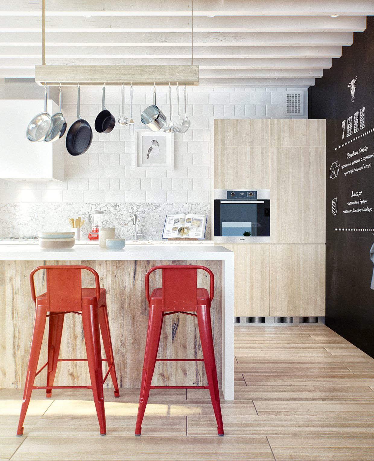 Duplex penthouse with scandinavian aesthetics industrial - Cocinas con barra ...