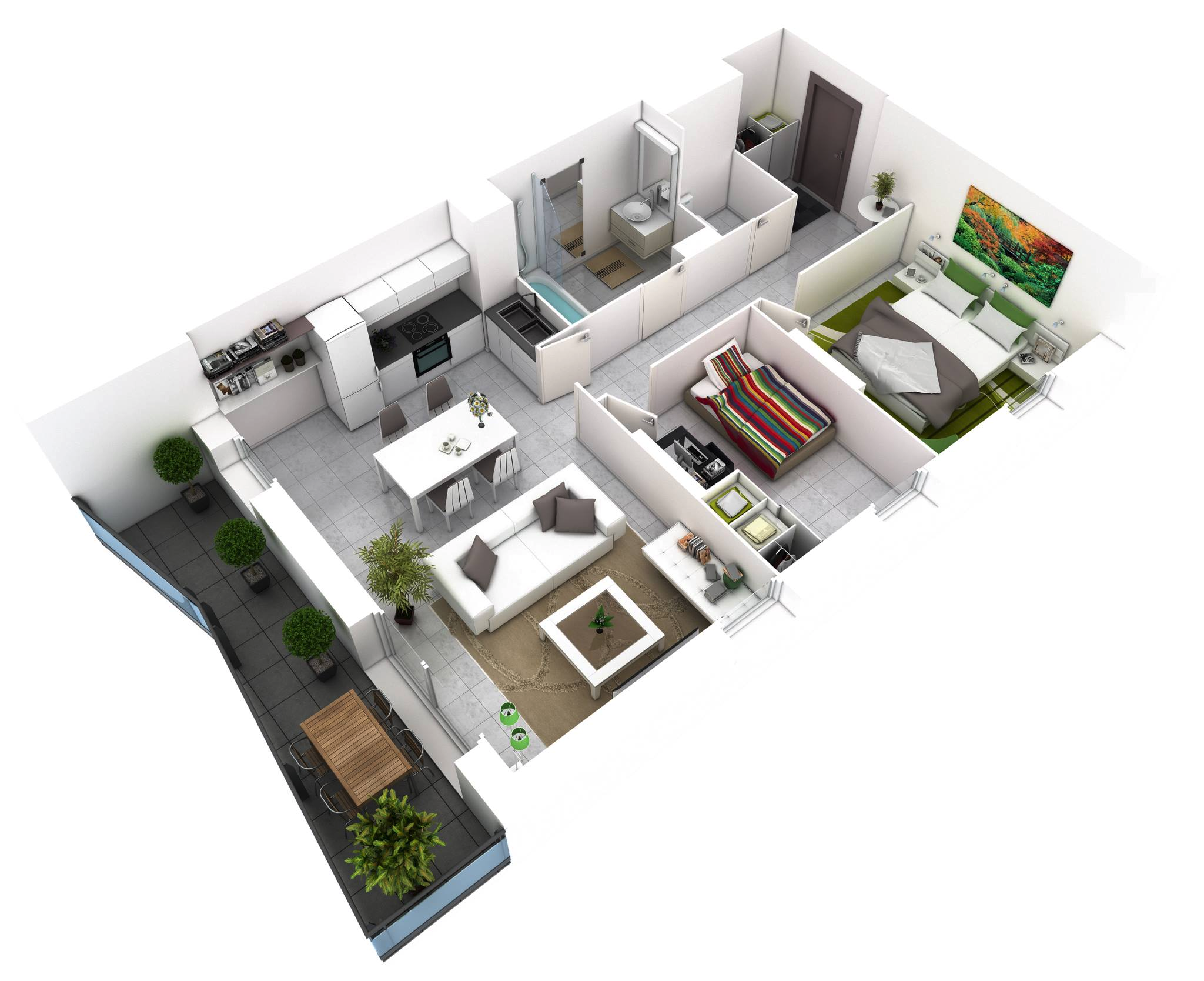 25 more 2 bedroom 3d floor plans for Home design 50m2