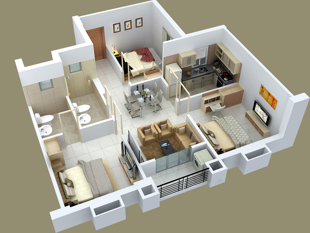 25 three bedroom house apartment floor plans for Ideal house plan