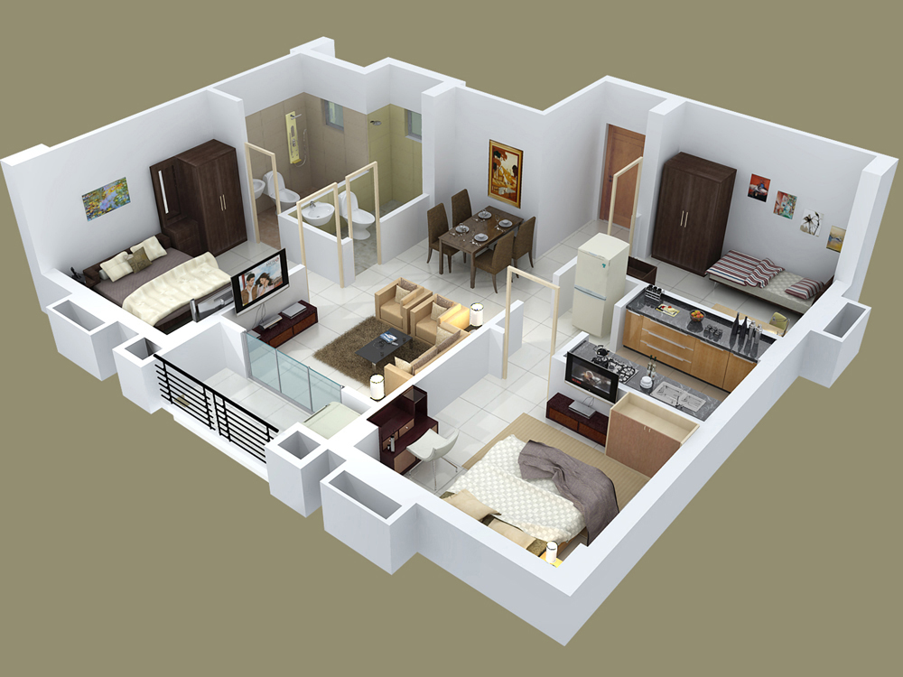 25 three bedroom house apartment floor plans. Black Bedroom Furniture Sets. Home Design Ideas