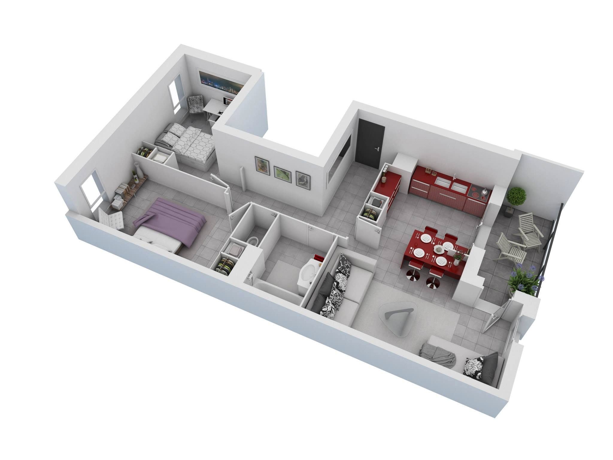 Floor Plans For Small Houses With 2 Bedrooms | 25 More 2 Bedroom 3d Floor Plans