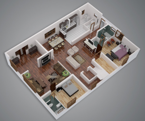 Elegant ... 25 Two Bedroom House/Apartment Floor Plans Home Design Ideas