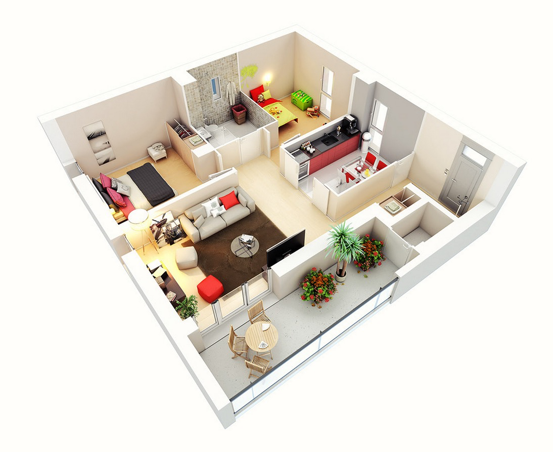 25 two bedroom house apartment floor plans Hd home design 3d