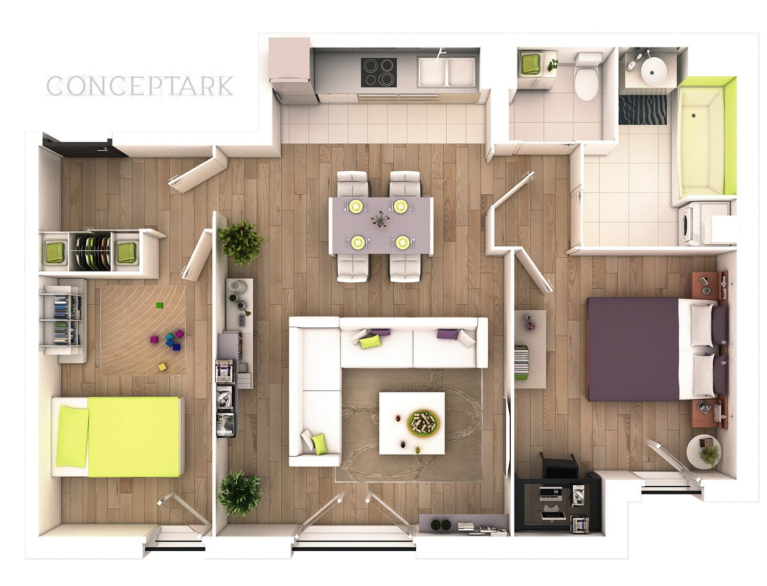 25 more 2 bedroom 3d floor plans for Apartment design plan