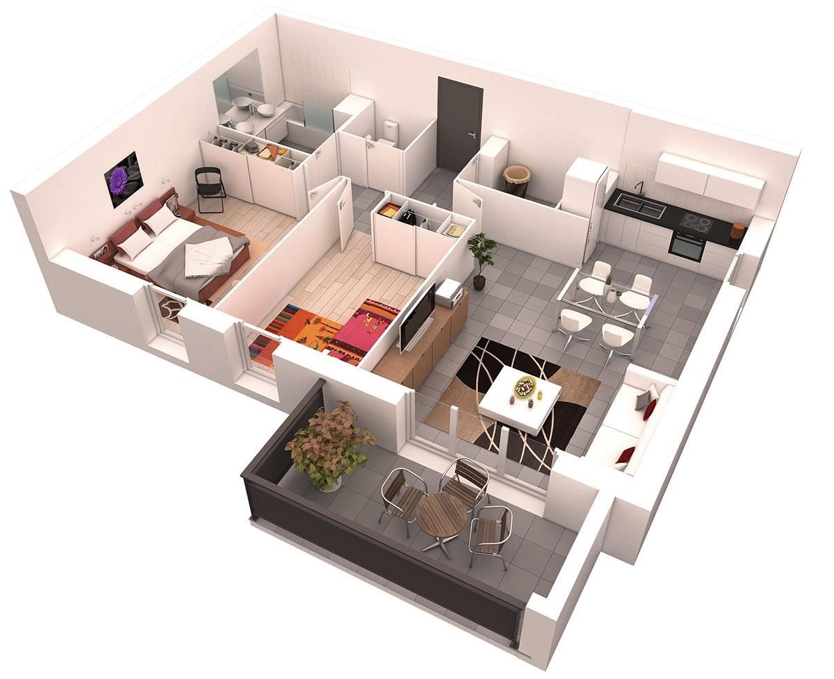 25 more 2 bedroom 3d floor plans for Apartment design models