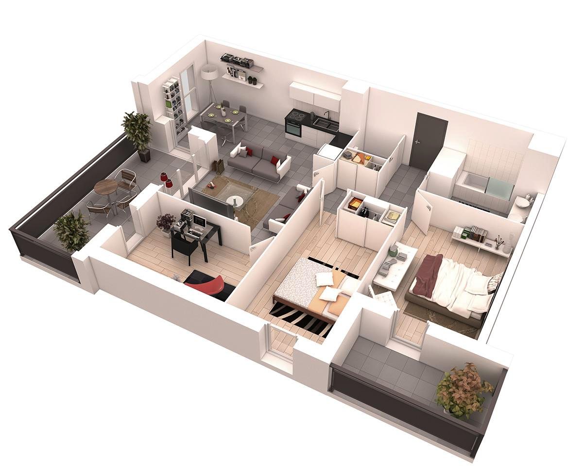 25 more 2 bedroom 3d floor plans for 3 bedroom with office house plans
