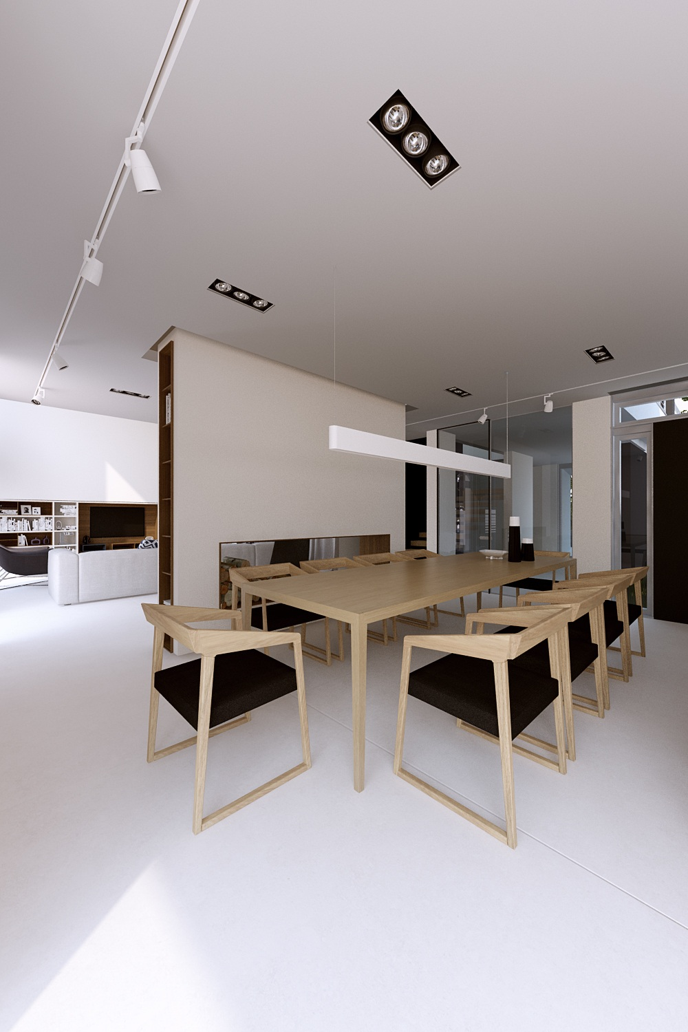 Birch Wood Dining Table - A sleek house that puts a passion for cars on display