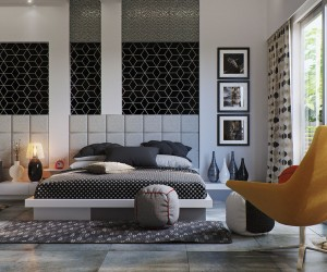 This bedroom, from Image Box Studio, uses an ultramodern palette with black and white taking center stage. The neutral scheme is offset by a pop of yellow in the upholstered armchair in the corner. Why not curl up with a good book before turning in for the night?