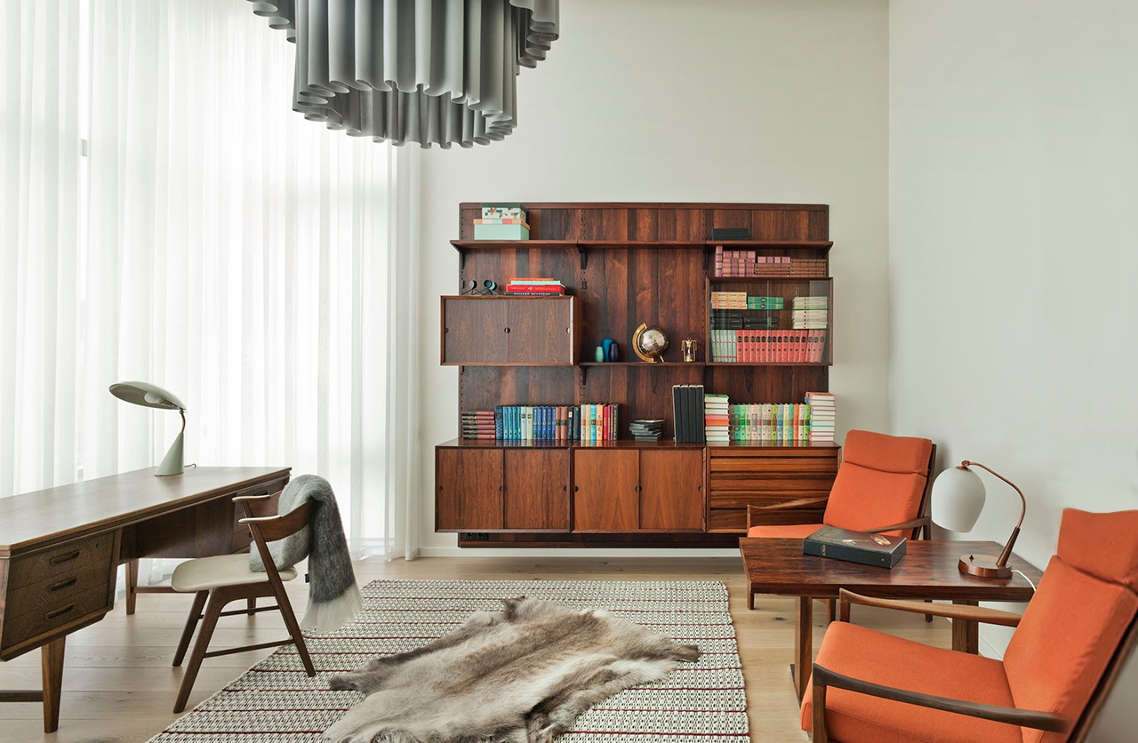 Cherry Bookcase - An eclectic moscow home showcases color and creative style
